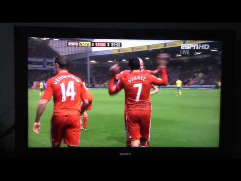 Liverpool vs Norwich City Luis Suarez 3rd Goal! 28/04/12 HD
