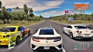 FORZA HORIZON 3 - GOPRO - ACURA NSX 2017 VS NISSAN GT-R R35 VS NISSAN GT-R R34 - ft.Getaway & Stereo