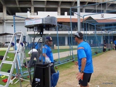 Sachin Tendulkar with Leverage ultimate cricket bowling machine