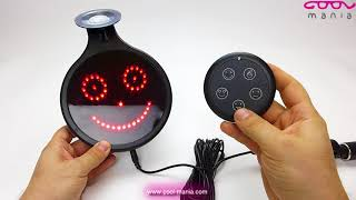 LED car sign with smile on a rear window with a diameter of 16,6 cm (www.cool-mania.com)