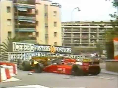 Berger tries to follow Alesi down the inside of Prost but smashes into him, bringing the race to a stop as their cars block the road in Monaco.
