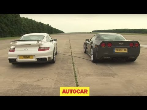 Porsche 911 GT2 v Corvette ZR1 - drag race by autocar.co.uk
