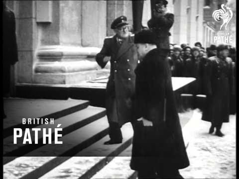Unused / unissued footage - dates and locations unclear / unknown. Cuts from newsreel 47/23 - Moscow Conference, Russia. Russian titles. Exterior shots of the Pilot's Club where the...