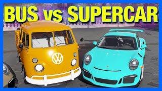 Forza Horizon 4 : New VW Bus Truck VS Porsche GT3 RS!! (FH4 Sleeper vs Supercar)