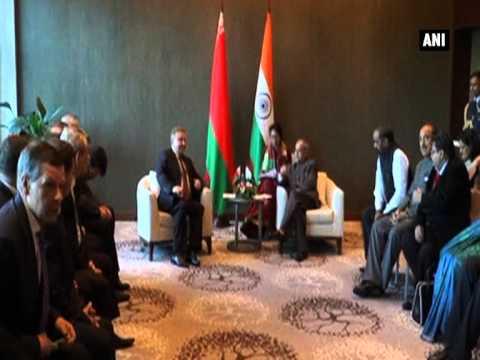 President Pranab Mukherjee meets Belarus PM Andrei Kobyakov