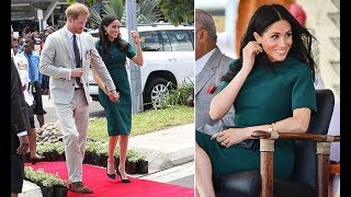 Harry and Meghan Fiji visit - Meghan stuns in a green dress to unveil a statue with Harry