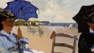3D animation of Claude Monet - The Beach at Trouville