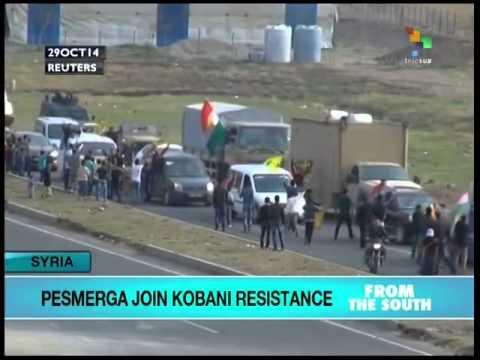Iraq's Peshmerga-Kurdish mililtias reach Kobani, Syria