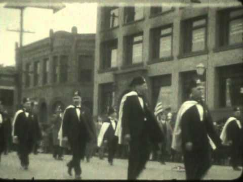 1928 Wenatchee WA winter scene and Shriners parade