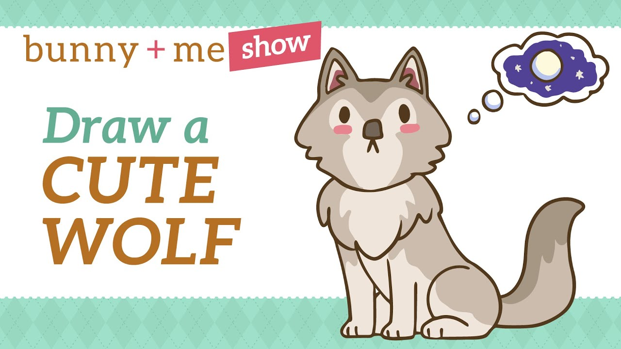 How to draw a cute wolf for kids