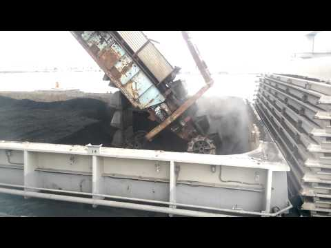 Coal unloading from barge