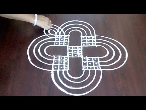 Latest 4 x 4  Kolam ||  Simple Lines Rangoli || Simple & Easy Margazhi Design || Fashion World