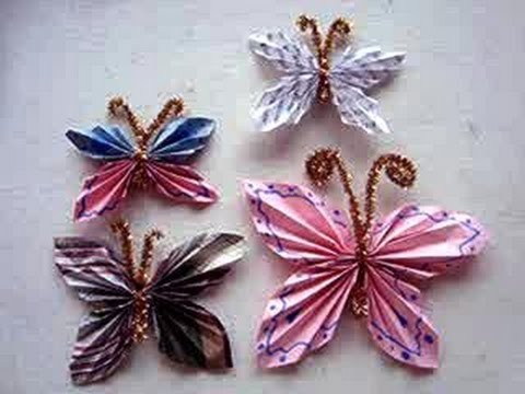 Diy how to fold a paper butterfly simple kids crafts for Butterflies for crafts and decoration