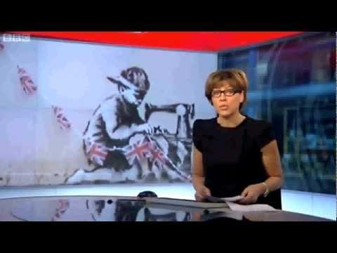 BANKSY ART WORK THEFT WOOD GREEN LONDON - BBC EVENING NEWS 24/02/2013