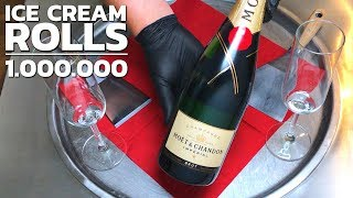 Ice Cream Rolls with Champagne | MOET Champaign rolled Ice Cream (1 Million Subscriber Special)