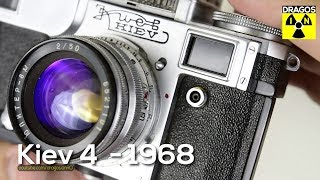 Kiev 4 Film Camera from 1968 a Russian Soviet Era Rangefinder Camera - close look, cleaning