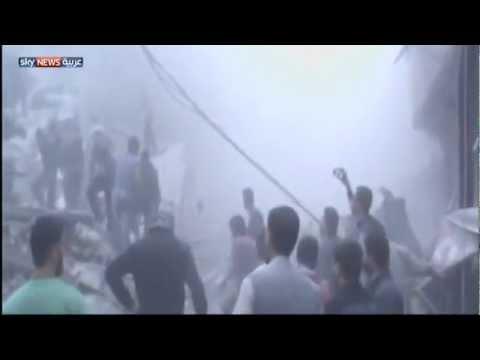 image vid�o استمرار الغارات الجوية على ضواحي دمشق
