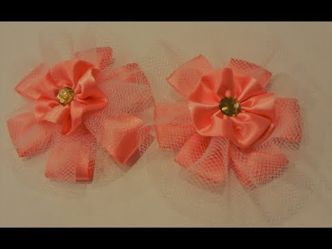 How to make hair bow #DIY ~ Tulle Design chic look hair bow