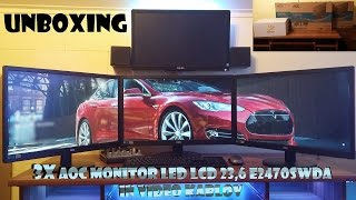 UNBOXING 3X AOC monitor LED LCD 23,6 E2470Swda in video kablov  (UHD - 4K !)