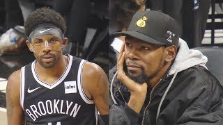 Kyrie Irving Nets Debut With Kevin Durant Watching! Raptors vs Nets 2019 NBA Preseason
