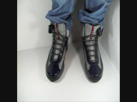 Prada Sneaker High Top Patent Leather Navy Blue GunMetal Mesh