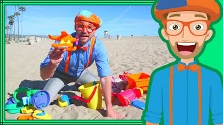 Blippi on the Beach with Sand Toys | Learning Colors for Children