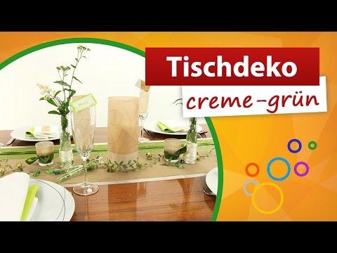 ♥ Tischdeko Creme Grün ♥ Tischdekorationen - Trendmarkt24