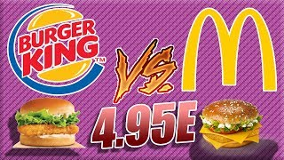 BURGER KING VS MCDO : COMPARAISON MENU A 4.95E