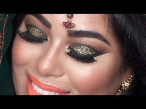 INDIAN BRIDAL MAKEUP TUTORIAL - GREEN And GOLD GLITTER EYES - YouTube