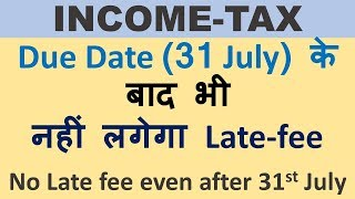 NO late fee for filing ITR after due date, Late fee is not applicable in this case