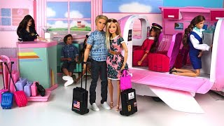 Barbie & Ken Airplane Travel Routine - Barbie Vacation Pink Glamour Jet - Barbie Packs her Suitcase