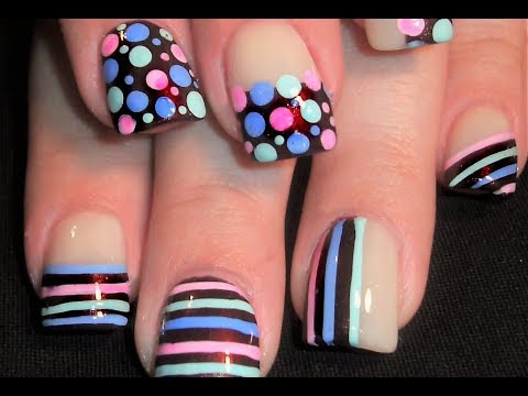Pastel Polka Dots & Stripes on Chocolate Brown Nail Art