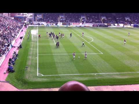 Burnley win a free kick and Michael Kightly scores Burnley's second goal against Wigan April 21st 2014. The Clarets are going up! Apologies for bald head of spectator in front of me.