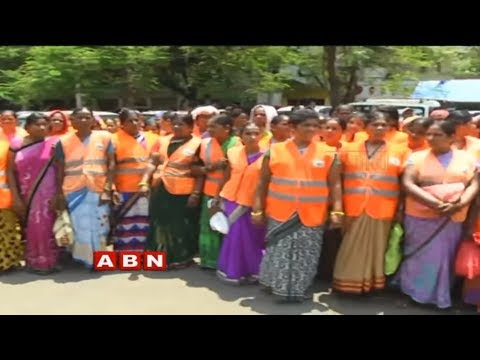 Sanitation workers protest at GHMC Head Office over Salaries