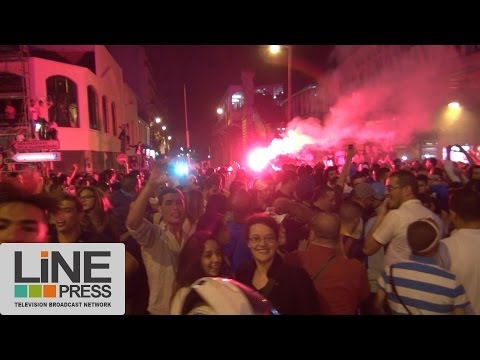 Grande liesse des algériens après la victoire contre la Corée / Paris - France 22 juin 2014