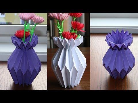 簡単★色画用紙でフラワーベースとお花の折り方作り方