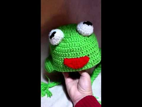 Free Crochet Pattern For Kermit The Frog Hat : Tutorial Crochet Kermit the Frog beanie/hat - YouTube