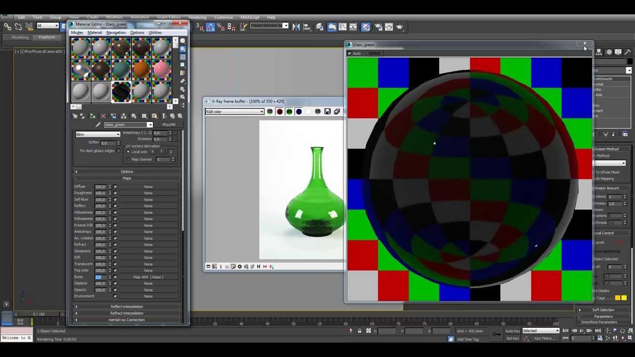 Уроки 3Ds Max. Vray материалы. Создание материала стекла - YouTube