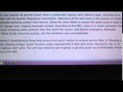 S.C., PLANT @ V.C. NUCLEAR REACTOR TRIPS DURING...
