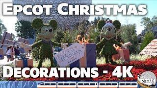 Epcot Festival of the Holidays 2018 Future World Decorations | 4K UHD | Walt Disney World