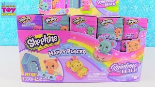 Shopkins Rainbow Beach Happy Places Full Box Blind Bag Opening | PSToyReviews