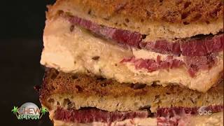 Actress Yvette Nicole Brown & Michael Symon Make Corned Beef Sandwich Bread Pudding