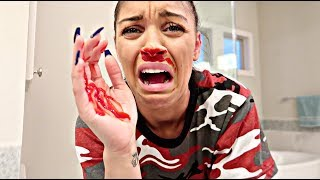 BLOODY NOSE PRANK ON HUSBAND!!