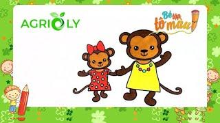 Bé Tập Tô Màu | Bé Tập Vẽ Và Tô Màu Con Khỉ