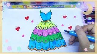 Đồ chơi trẻ em/ Vẽ và tô màu đầm công chúa nhiều tầng nhiều màu sắc / bé học màu sắc/ Ami Channel