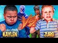 1v1 9 YEAR OLD BROTHER VS TRASH TALKING LITTLE KID (ZURG) FORTNITE PLAYGROUND! HE BROKE CONTROLLER!!