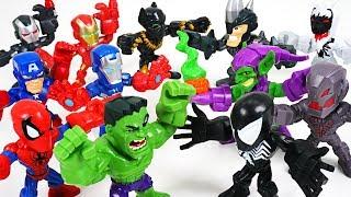 Marvel Avengers mini VS Villains, Dinosaurs army! Hulk, Spider Man, Iron Man - DuDuPopTOY