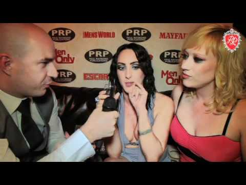 British pornstars Chloe Lovette and Axa Jay get interviewed at the Paul Raymond Summer party 2012