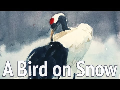 Watercolor painting of a bird on snow step by step