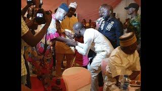 So Humble! See How Alao Malaika  Bows Down To Greet Femi Adebayo At Ibrahim Chatta Movie Premiere